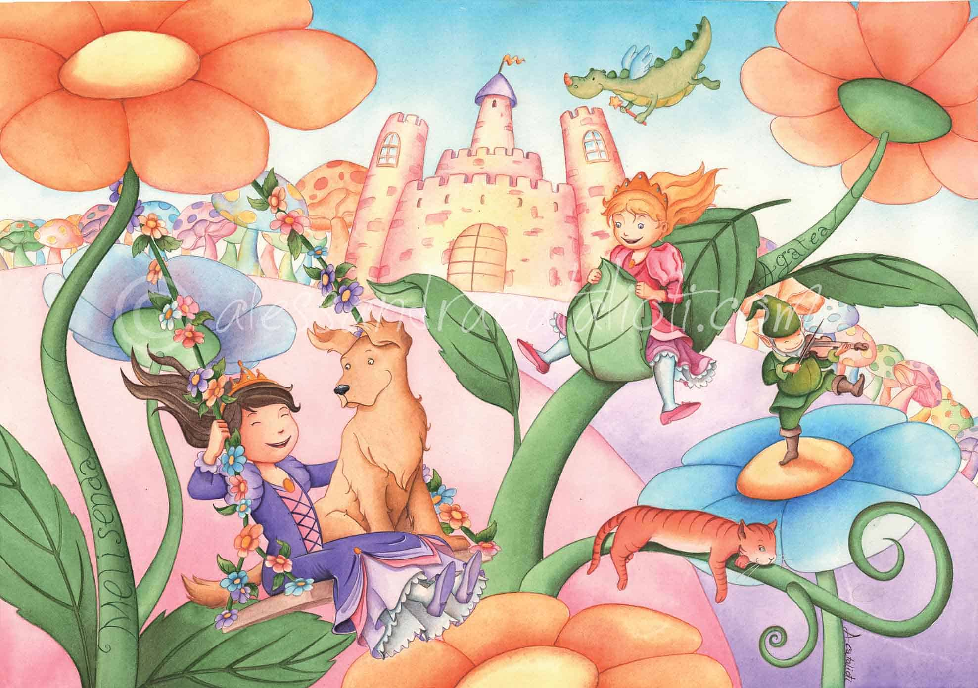 Lovely princesses, blooming flowers, a sweet dog and a sleepy cat, a happy elf and a cute dragon: the perfect ingredients for a colourful illustration full of vividness and happiness. Drawing it I could give vent to my wild, vivid and creative imagination and I had the amusing opportunity to turn back to my childhood.