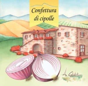 Illustrazione etichetta confettura di cipolle