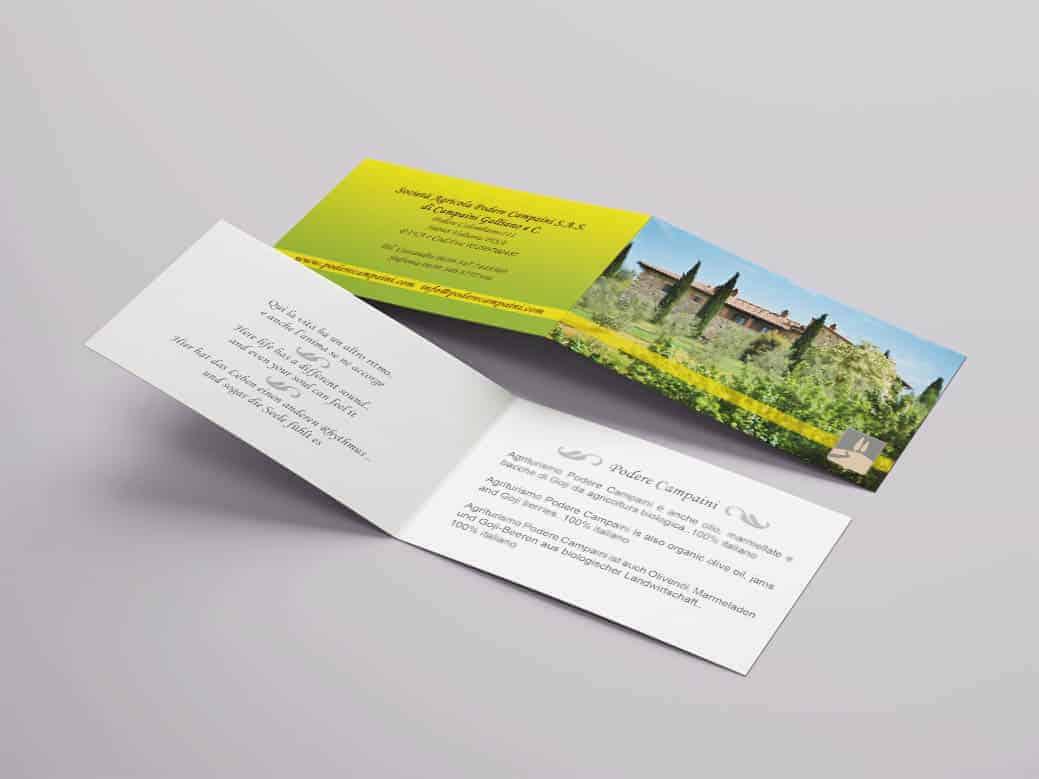 Design biglietti da visita doppi pieghevoli