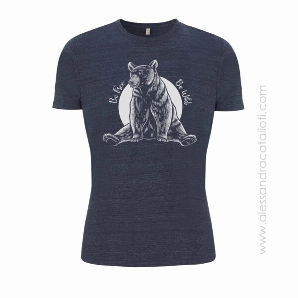 Vegan t-shirt color melange navy with bear printed