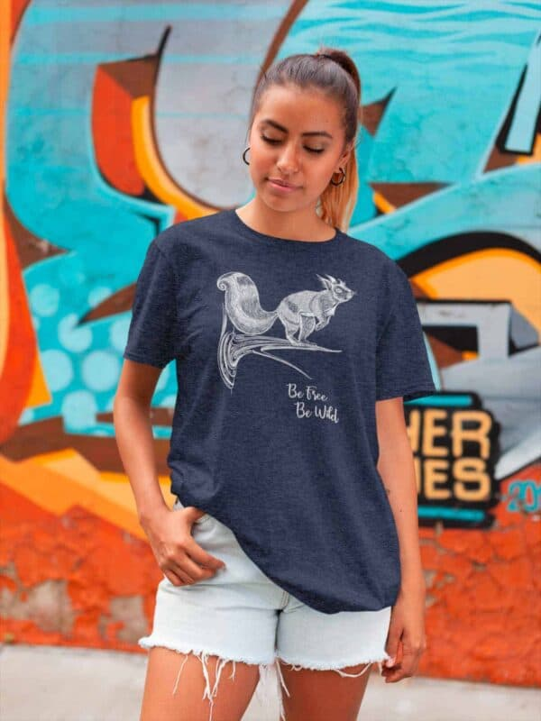 T-shirt color melange navy con stampa scoiattolo