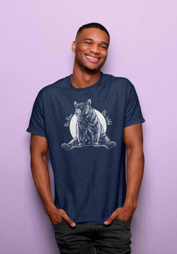 T-shirt color melange navy with bear printed