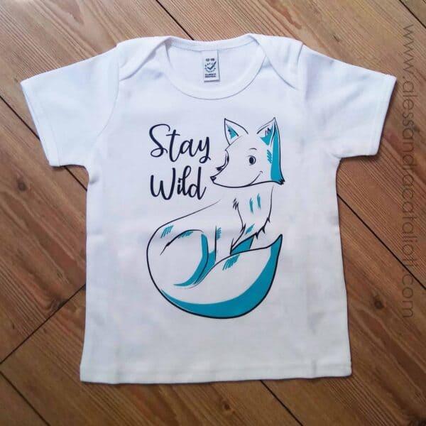 t-shirt bambini con stampa volpe in morbido cotone biologico