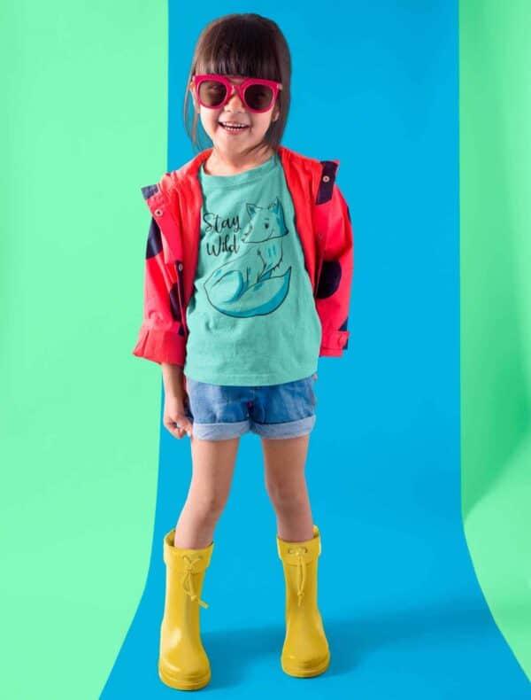 t-shirt bambini in cotone biologico pettinato e filato colore caribbean blue