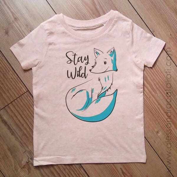 T-shirt per bambini con stampa volpe color cream pink