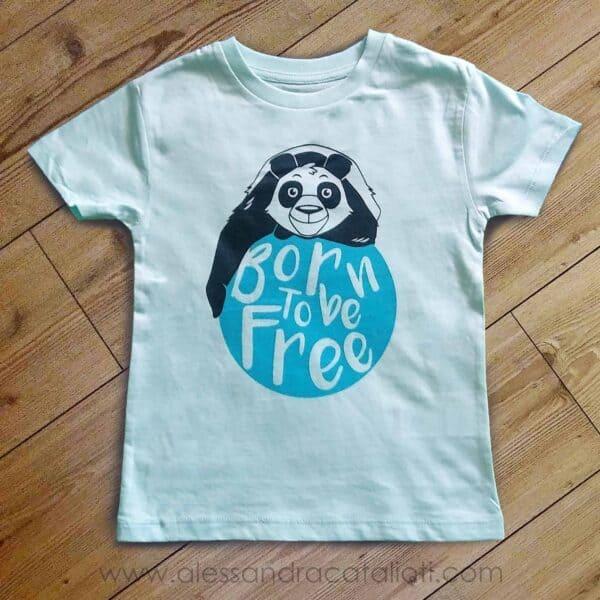 t-shirt bambini color caribbean blu con stampa panda