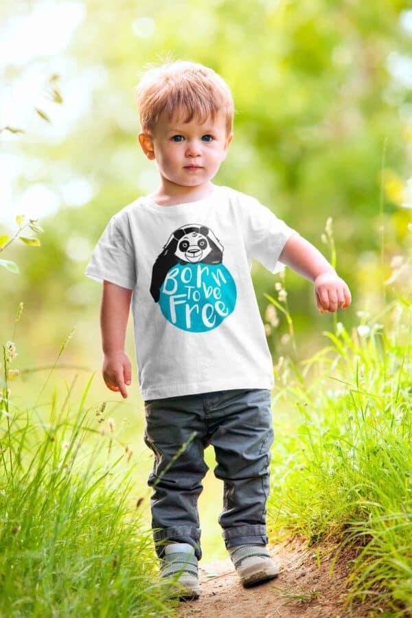 t-shirt bambino bianca con stampa panda