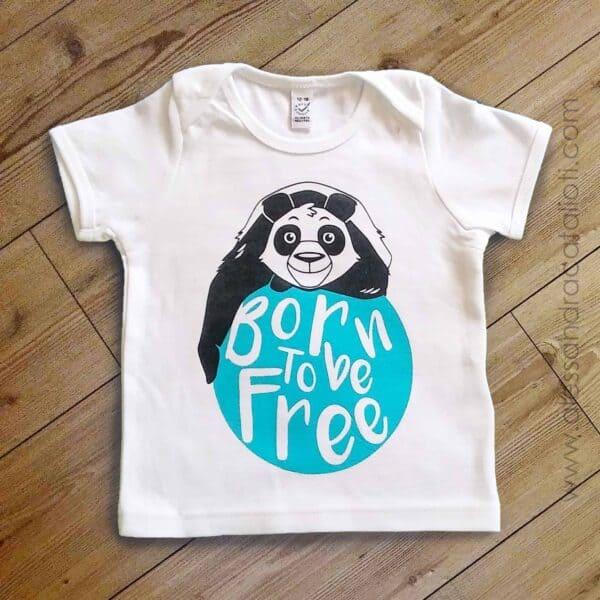 t-shirt bambini bianca con stampa panda
