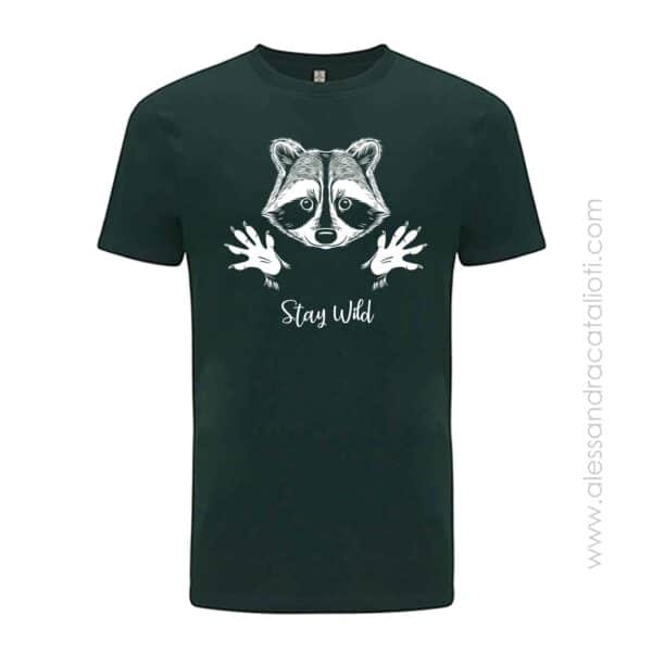 vegan t-shirt color green bottle with print raccoon