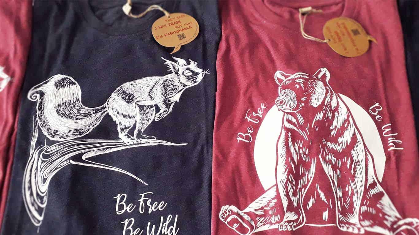 t-shirt ecosostenibili con illustrazioni di animali stampate