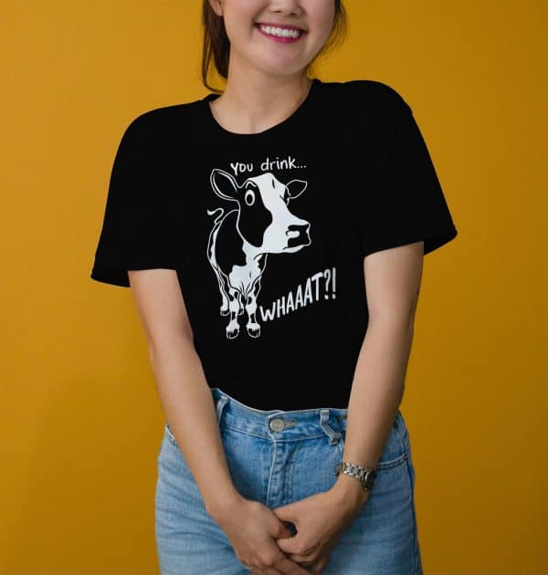 Vegan-tshirt-with-a-printed-cow